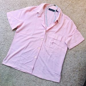 Impressions Tops - 🔥3/$25 IMPRESSIONS Pink Button Down Blouse EUC